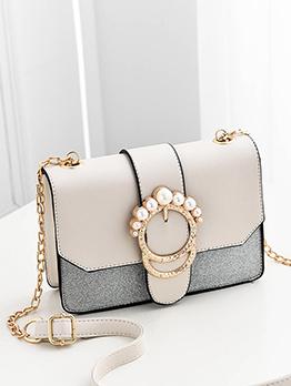 Fresh Pearl Metal Hasp Square Shoulder Bag