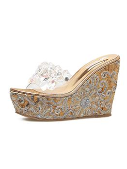 Fashionable Diamond Slide PVC Wedges Slippers