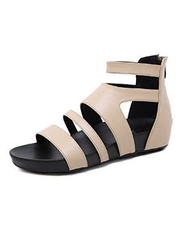 Roman Style Zipper Solid Pu Flat Sandals