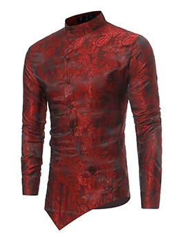 Stand Neck Printed Asymmetrical Hem Shirt