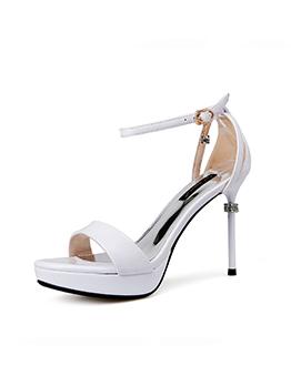 Elegant A-Buckle Strap Thin Heel Beading Sandals