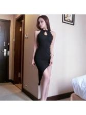 Sexy Low-cut Backless Gauze Decor Asymmetrical Dress