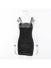 Boat Neck Brightly Bodycon Black Dress