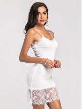 Patchwork Lace Scoop Neck Slip Dress