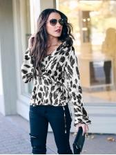 V Neck Flare Sleeve Leopard Print Blouse For Women