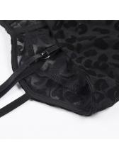 V Neck Perspective Leopard Print Straps Bodysuit