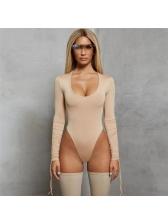 Deep U Neck Drawstring Solid Fitted Bodysuit