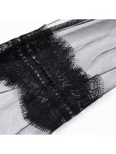 Deep V Neck Lantern Sleeve Lace Bodysuit