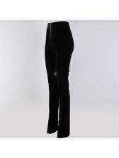 Fashion High Neck Belt Patchwork Zip Pencil Pants