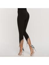 Fashion Tassel Black Pencil Pants For Women