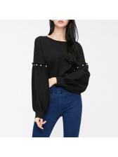 Lantern Sleeve Studded Loose Sweatshirt