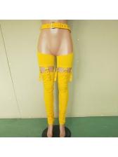 Sexy Belt Patchwork Asymmetrical Pencil Pants