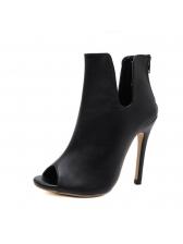 Peep-Toe Black Heel Ankle Boots