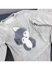 Casual Cartoon Fox Crew Neck Pajamas