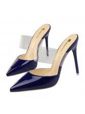 Minimalist Patent Leather High Heel Slippers
