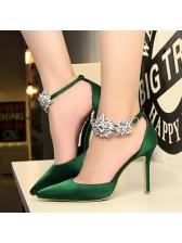 Euro Satin Diamond Pointed Woman Pumps