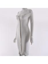 Single-breasted Off Shoulder Knit Dress