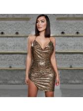 Sexy Backless Split Hem Halter Sequin Dress