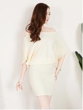 Off Shoulder Loose Knitted Dress