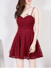 V Neck Spaghetti Strap Lace Dress