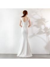 V Neck Beaded Fitted Evening Dresses
