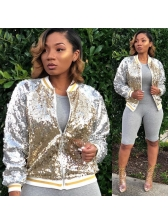 Colorblock Sequined Baseball Jacket For Women