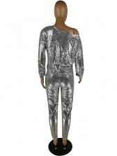 Crew Neck Sequin Long Sleeve Jumpsuit For Women