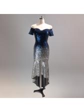 Gradient Sequined Off Shoulder Boutique Dresses