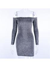 Solid Off The Shoulder Long Sleeve Dresses