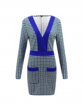 Deep V Neck Plaid Fitted Long Sleeve Dress