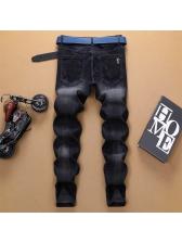 Vintage Style Embroidery Black Jeans Men