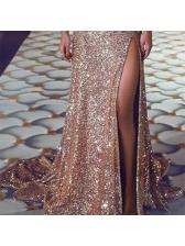 Glitter Split Floor Length Wholesale Evening Dresses