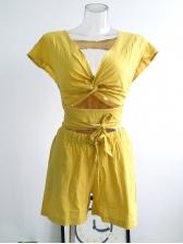 Summer V Neck Tie-Wrap Solid 2 Piece Shorts Set