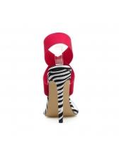 Pointed PVC Zebra Printed Bandage Sandals