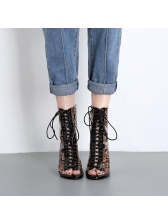 Peep-Toe Snake Printed Clear Mid Calf Boots