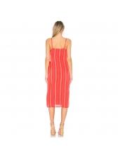 Striped V Neck Womens Sleeveless Dresses