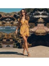 Floral Ruffle Yellow Short Sleeve Mini Dresses