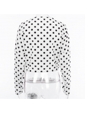 Casual Polka Dots Twist Cropped Blouse