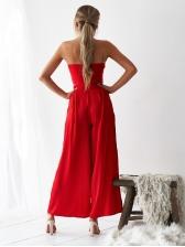 Off Shoulder Binding Wide Leg Red Co-Ords