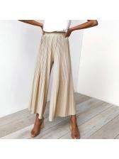 Casual Pleated Wide Leg Elastic Pants