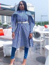 Striped Ruffles Blue Long Sleeve Button Up Dress