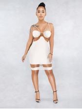 Sexy Gauze Patchwork Sleeveless Bodycon Dress