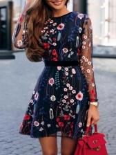 Euro Embroidery Gauze Blue Long Sleeve Dresses