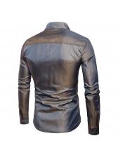 Turndown Collar Single-breasted Mens Shirts