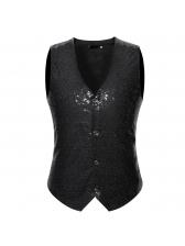 Sequined V Neck Single-breasted Waistcoat