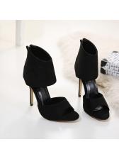 Peep-Toe Suede Black Heel Pumps