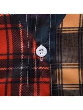 Plaid Contrast Color Mens Shirts