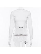 Simple Design Mock Neck White Sweatshirt
