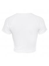 Causal Printed White Cropped T-Shirt