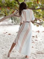 Striped Single-breasted Wholesale Maxi Dresses